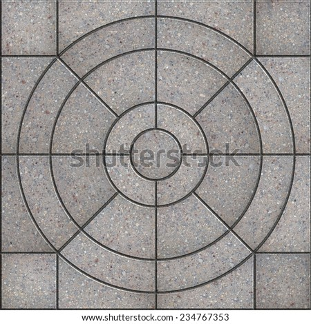 Gray Pavement Slabs in the Form of Circles with different size. Seamless Tileable Texture. - stock photo