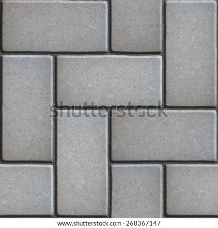 Gray Paving of Sidewalk Slabs Rectangles. Seamless Tileable Texture. - stock photo