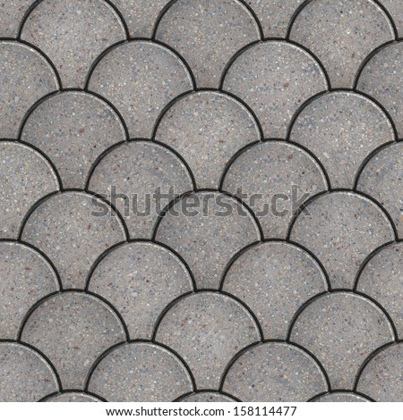 Gray Paving Slabs in the Form of Squama. Seamless Tileable Texture. - stock photo