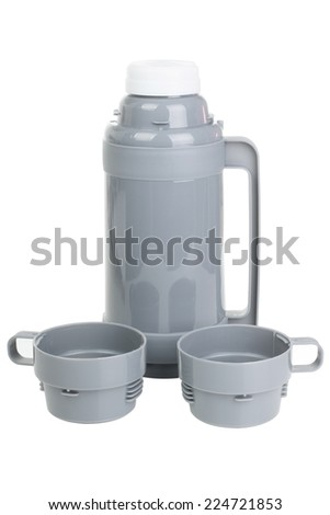 Gray plastic thermos with two cups isolated on white background - stock photo