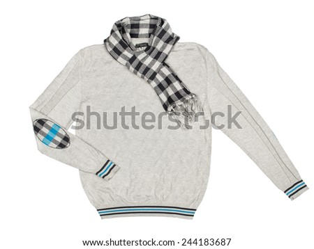 gray pullover with a scarf on a white background - stock photo
