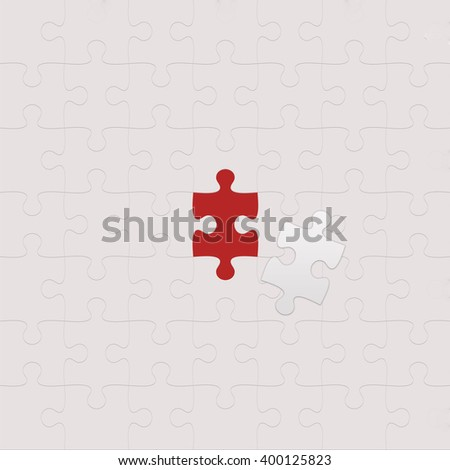Gray Puzzle with missing piece - stock photo
