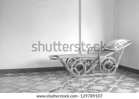 Gray scale lonely vacncy bed - stock photo