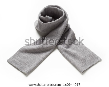gray scarf isolated on white - stock photo