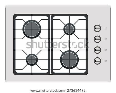 Gray shut down gas stove - stock photo
