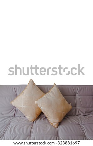 Gray sofa with pillows isolated on white background - stock photo