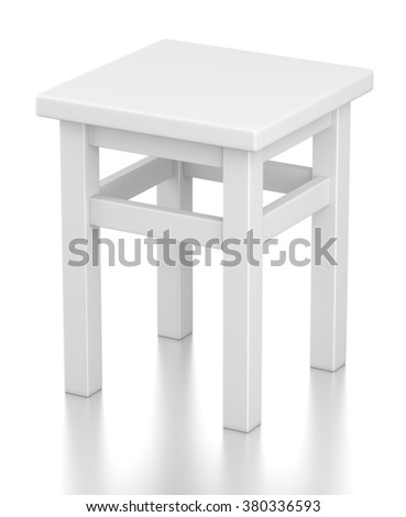 Gray square stool on 4 legs isolated on white background - stock photo