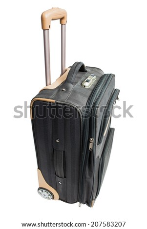 gray suitcase for travel with combination lock isolated on white background - stock photo