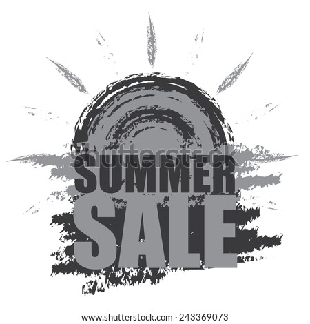 Gray Summer Sale Banner, Sticker, Icon or Label Isolated on White Background  - stock photo