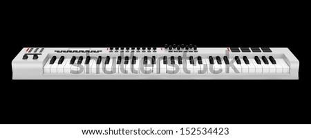 gray synthesizer isolated on black background - stock photo