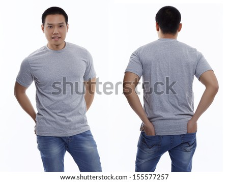 Gray t-shirt on a young man isolated front and back-Studio Shot - stock photo