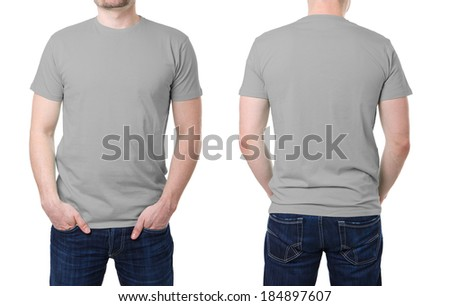 Gray t shirt on a young man template on white background - stock photo