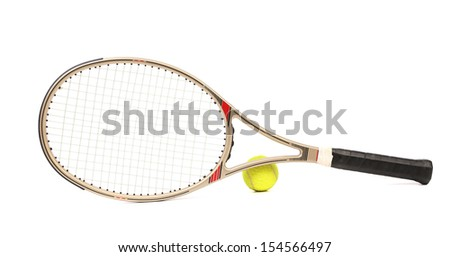 Gray tennis racket and yellow ball. Isolated on a white background. - stock photo
