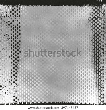 Gray texture background of perforated metal plate. - stock photo