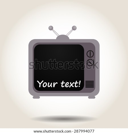 Gray TV on a gray background with shadow - stock photo