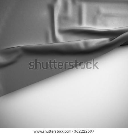 Gray Waving flag background. Luxury fabric background. - stock photo