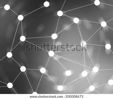 Gray Web Network Background Image - stock photo