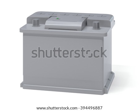Gray white car battery isolated on white. Vehicle accumulator - stock photo