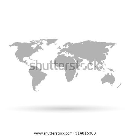 Gray world map on white background - stock photo