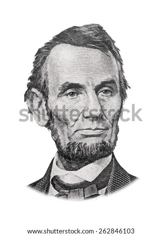 Grayscale Drawing of US President Abraham Lincoln - stock photo