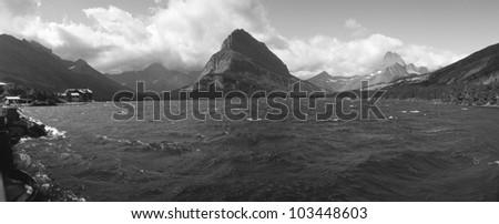 Grayscale of Lake Sherbourne, Glacier National Park, Montana - stock photo