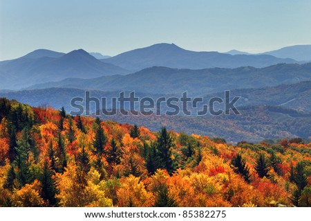 Grayson Highlands State Park Autumn Long Range Views Horizontal - stock photo