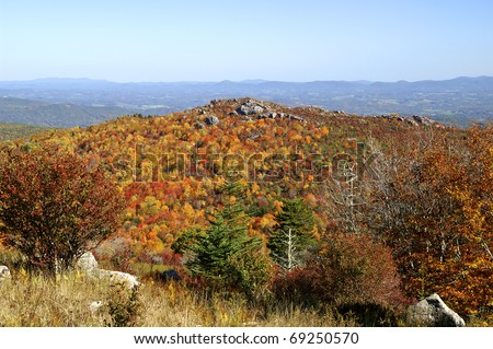 Grayson Highlands State Park Long Range View in Autumn With Copy Space - stock photo