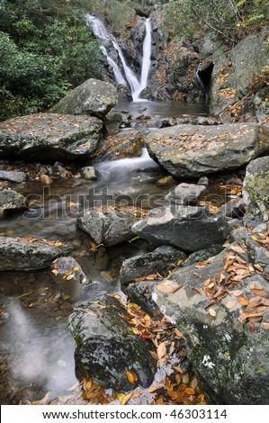Grayson Highlands State Park, Virginia Cabin Creek Falls Vertical in Autumn - stock photo