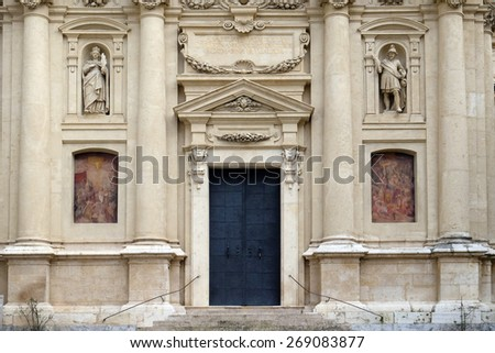 GRAZ, AUSTRIA - JANUARY 10, 2015: Portal of St. Catherine church and Mausoleum of Ferdinand II, Graz, Austria on January 10, 2015. - stock photo