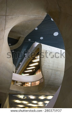 GRAZ, AUSTRIA - MAY 20, 2015: House of Music and Music Drama, MUMUTH. Contemporary architecture designed by architectural studio UNStudio. Interior detail. - stock photo