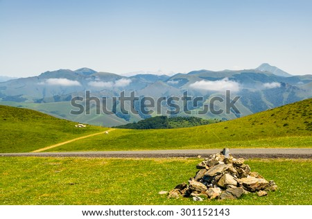 Grazing meadows in the French Pyrenees - stock photo