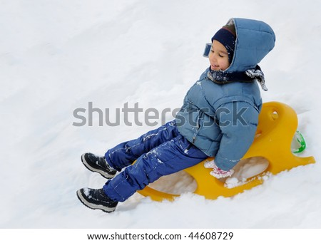 Great activity on snow, children and happiness - stock photo
