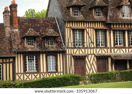 great and ancient house in Normandy France - stock photo