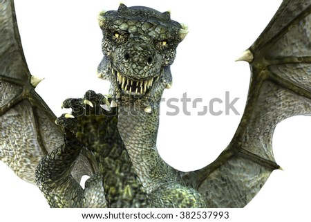 Great and powerful green dragon with wings posing close to the camera on colored background for the image. 3D Illustration, 3D rendering - stock photo