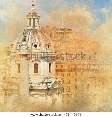 great antique Rome - artwork in retro style series - stock photo
