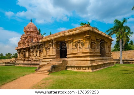 Great architecture of Hindu Temple dedicated to Shiva, ancient Gangaikonda Cholapuram Temple,  India, Tamil Nadu, Thanjavur (Trichy) - stock photo