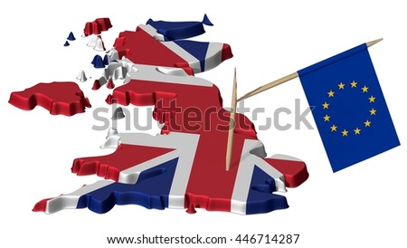 Great Britain and a Broken Little Flag of the EU after Brexit - 3D Illustration - stock photo