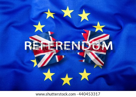 Great Britain and european union flag. United Kingdom exit from EU - Brexit referendum text. - stock photo
