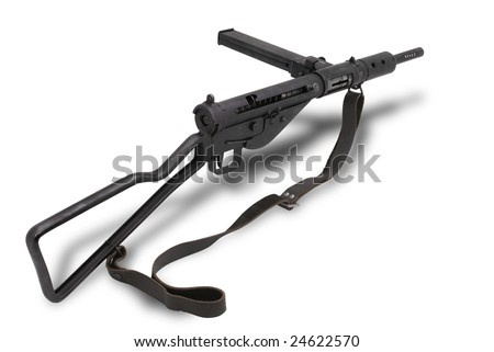 Great Britain at the WW2. British submachine gun Sten Mk2. The Sten used extensively by British and Commonwealth forces throughout World War II and the Korean War. - stock photo