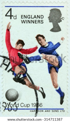 GREAT BRITAIN - AUGUST 24, 2015: A stamp printed by GREAT BRITAIN shows Players with Ball. World Cup Football Championship, circa June, 1966 - stock photo
