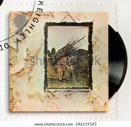 GREAT BRITAIN - CIRCA 2010: A stamp printed by GREAT BRITAIN shows Led Zeppelin album Led Zeppelin IV (1971) cover, circa 2010. - stock photo