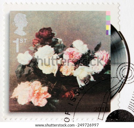 GREAT BRITAIN - CIRCA 2010: A stamp printed by GREAT BRITAIN shows New Order LP album Power, Corruption and Lies (1983) cover, circa 2010. - stock photo