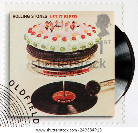 GREAT BRITAIN - CIRCA 2010: A stamp printed by GREAT BRITAIN shows Rolling Stones album Let It Bleed (1969) cover, circa 2010. - stock photo