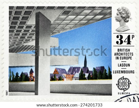 GREAT BRITAIN - CIRCA 1987: A stamp printed by GREAT BRITAIN shows view of European Investment Bank, Luxembourg. British architects in Europe series, circa 1987. - stock photo