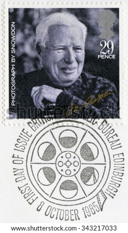 GREAT BRITAIN - CIRCA 1985: A stamp printed in Great Britain, shows portrait of Charlie Chaplin (1889-1977), by Snowdon, series 20th Centenary Stars and Directors of Film, circa 1985 - stock photo