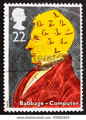 GREAT BRITAIN - CIRCA 1991: a stamp printed in the Great Britain shows Charles Babbage, computers, circa 1991 - stock photo
