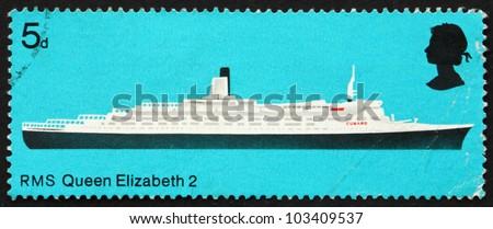 GREAT BRITAIN � CIRCA 1969: a stamp printed in the Great Britain shows R.M.S. Queen Elizabeth 2, British Ship, circa 1969 - stock photo