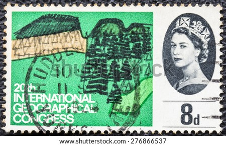 GREAT BRITAIN - CIRCA 1964: a vintage stamp printed in the Great Britain shows 20th international Geographical Congress, circa 1964  - stock photo
