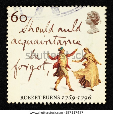 GREAT BRITAIN - CIRCA 1996: Postage stamp printed in Great Britain with image of a medieval highland dancers to commemorate Robert Burns - the Immortal Memory. - stock photo