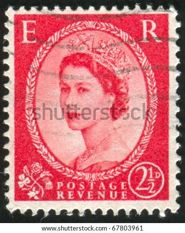 GREAT BRITAIN - CIRCA 1957: Stamp printed by Great Britain, shows queen Elizabeth II, circa 1957 - stock photo